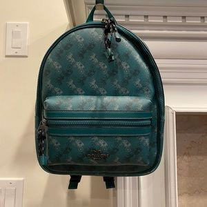 Coach green Horse Carriage Medium Charlie Backpack